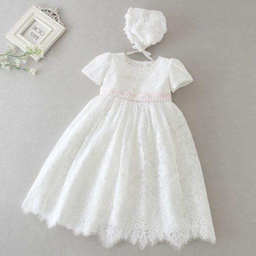 Vestido infantil bebê batizado com faixa rosa Mandrião Renda Branco Touca Luxo