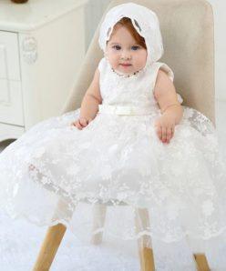 Vestido infantil bebê batizado Mandrião Renda e Laço Branco Touca Luxo