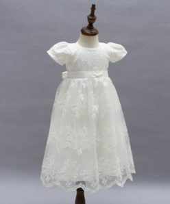 Vestido infantil bebê batizado Mandrião Renda Manga Princesa Branco Luxo