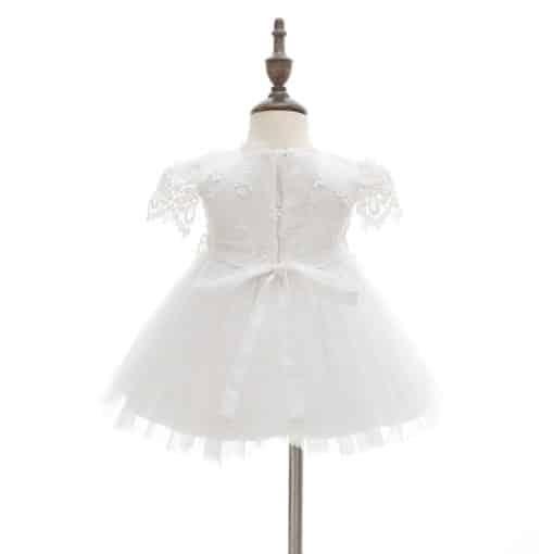 Vestido infantil bebê batizado Renda Manga Curta Branco Luxo