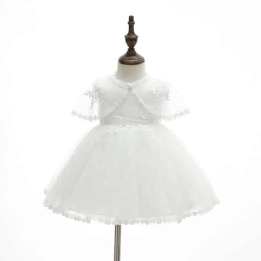 Vestido infantil menina bebê batizado Daminha Casamento 3 peças Renda Branco Premium Luxo