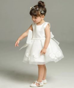 Vestido infantil menina bebê Festa Daminha Batizado Laço Grande Renda Branco Premium Luxo