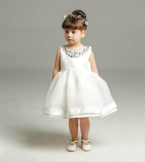 Vestido infantil menina bebê Pedrarias Tule Laço Renda Branco Premium Luxo