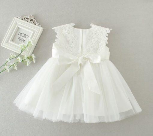 Vestido infantil menina bebê Princesa Festa Casamento batizado Renda Manga Curta Branco Premium Luxo