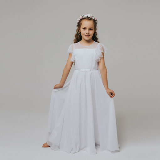 Vestido Longo infantil elegante menina Rendas flor primavera verão Festa Daminha Batizado Branco Premium Luxo
