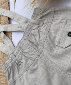 Jardineira Premium Linho Bege Macacão Menino Bermuda Infantil Luxo