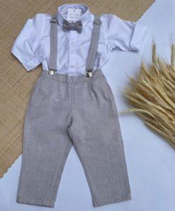 Conjunto Premium Infantil Menino Body ou Camisa Calça e Gravata e Suspensório Bege Festas